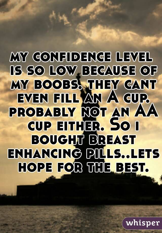 my confidence level is so low because of my boobs. they cant even fill an A cup. probably not an AA cup either. So i bought breast enhancing pills..lets hope for the best.