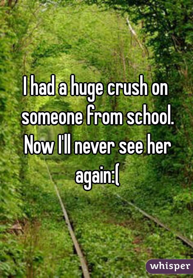 I had a huge crush on someone from school. Now I'll never see her again:(