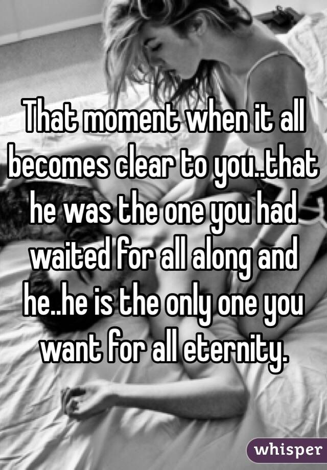 That moment when it all becomes clear to you..that he was the one you had waited for all along and he..he is the only one you want for all eternity.