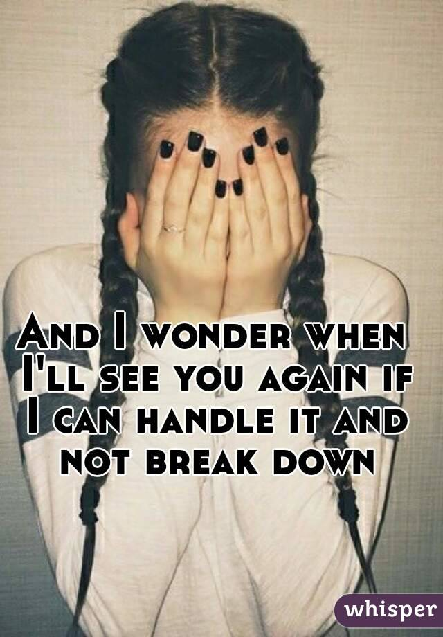 And I wonder when I'll see you again if I can handle it and not break down
