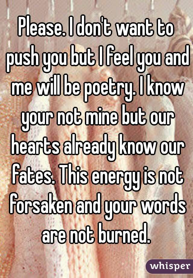 Please. I don't want to push you but I feel you and me will be poetry. I know your not mine but our hearts already know our fates. This energy is not forsaken and your words are not burned.