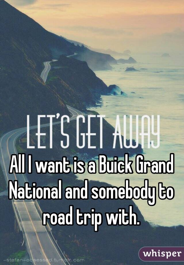 All I want is a Buick Grand National and somebody to road trip with.