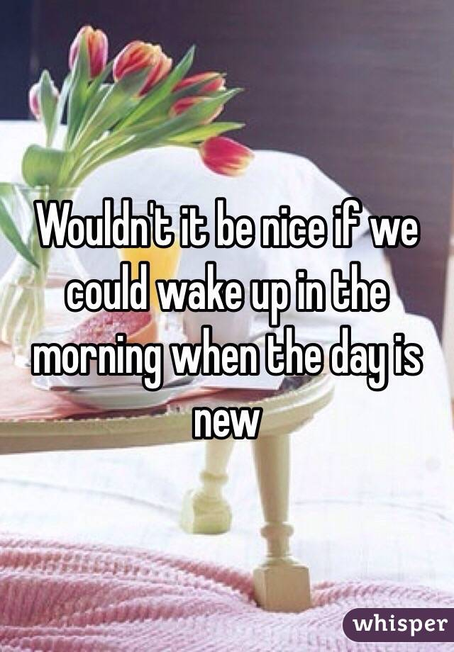 Wouldn't it be nice if we could wake up in the morning when the day is new