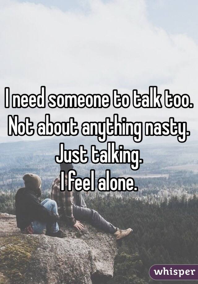 I need someone to talk too.  Not about anything nasty.  Just talking.  I feel alone.