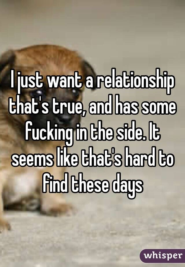 I just want a relationship that's true, and has some fucking in the side. It seems like that's hard to find these days