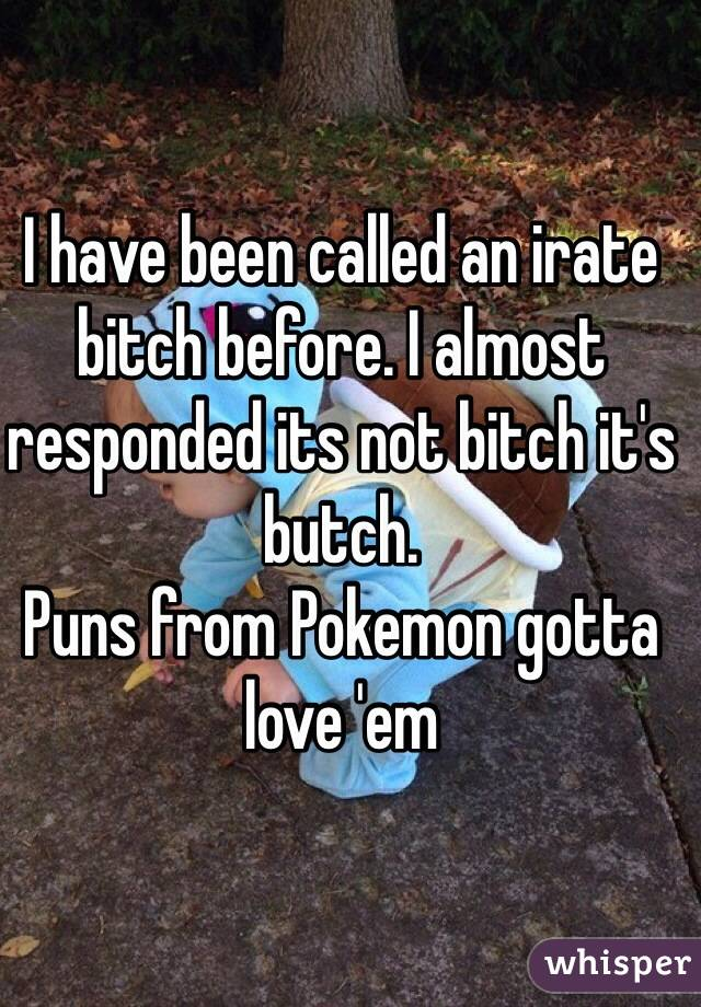 I have been called an irate bitch before. I almost responded its not bitch it's butch.  Puns from Pokemon gotta love 'em