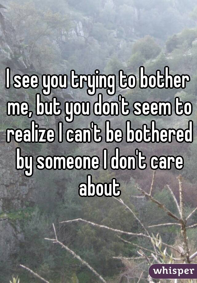 I see you trying to bother me, but you don't seem to realize I can't be bothered by someone I don't care about