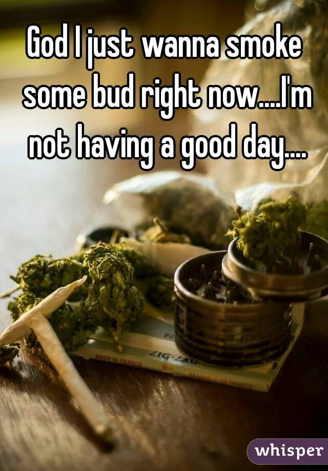 God I just wanna smoke some bud right now....I'm not having a good day....