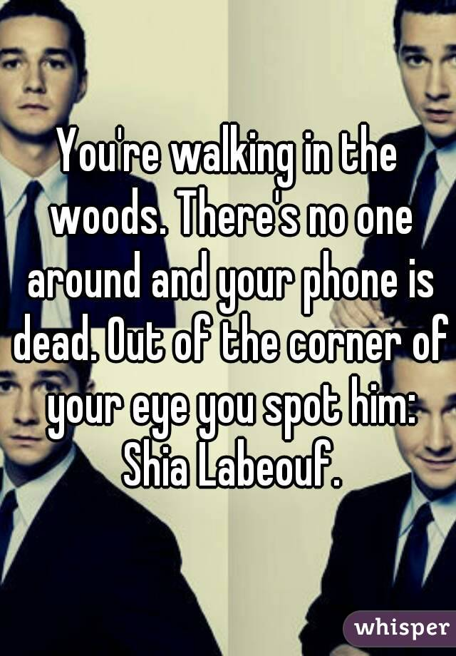 You're walking in the woods. There's no one around and your phone is dead. Out of the corner of your eye you spot him: Shia Labeouf.
