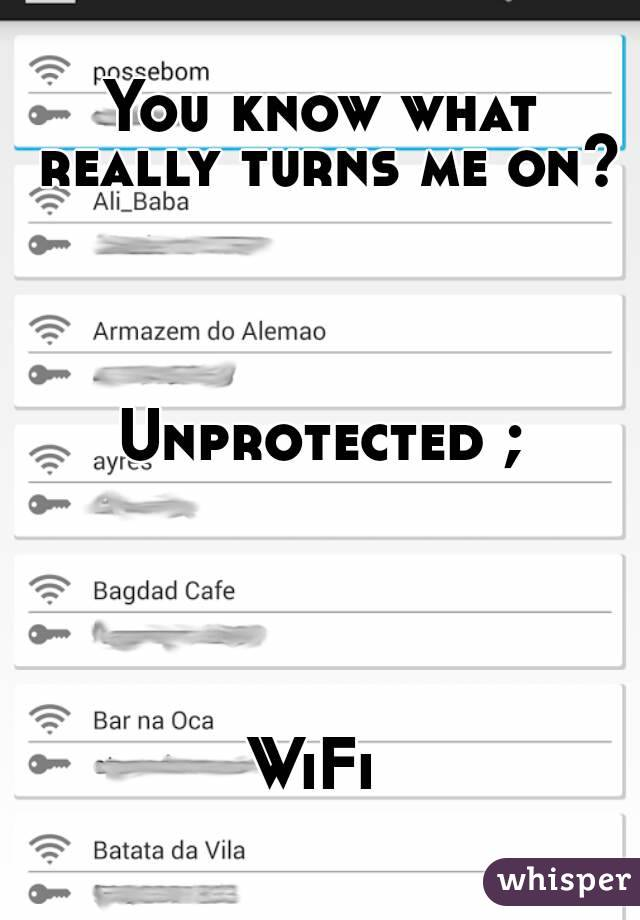 You know what really turns me on?     Unprotected ;      WiFi