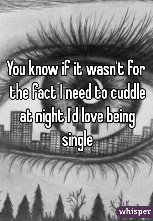 You know if it wasn't for the fact I need to cuddle at night I'd love being single