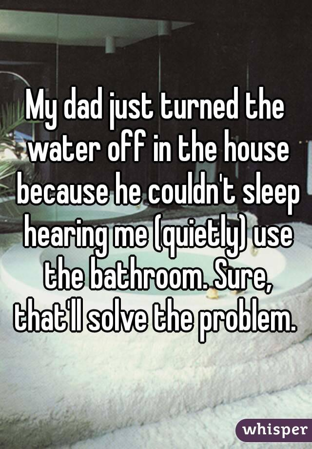My dad just turned the water off in the house because he couldn't sleep hearing me (quietly) use the bathroom. Sure, that'll solve the problem.