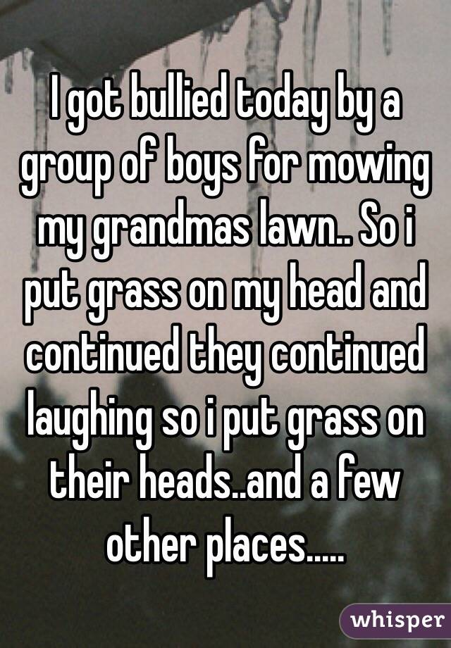 I got bullied today by a group of boys for mowing my grandmas lawn.. So i put grass on my head and continued they continued laughing so i put grass on their heads..and a few other places.....