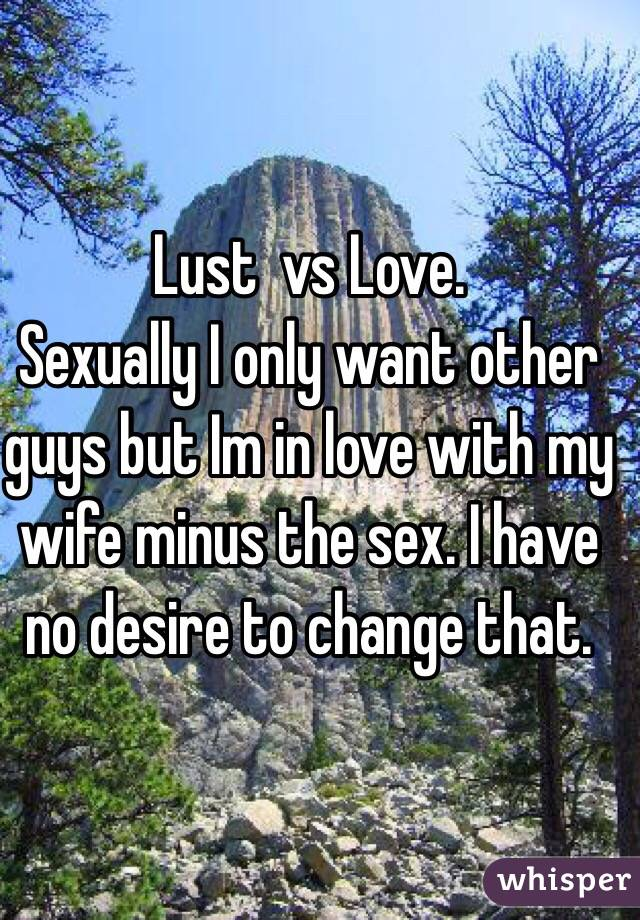 Lust  vs Love.              Sexually I only want other guys but Im in love with my wife minus the sex. I have no desire to change that.