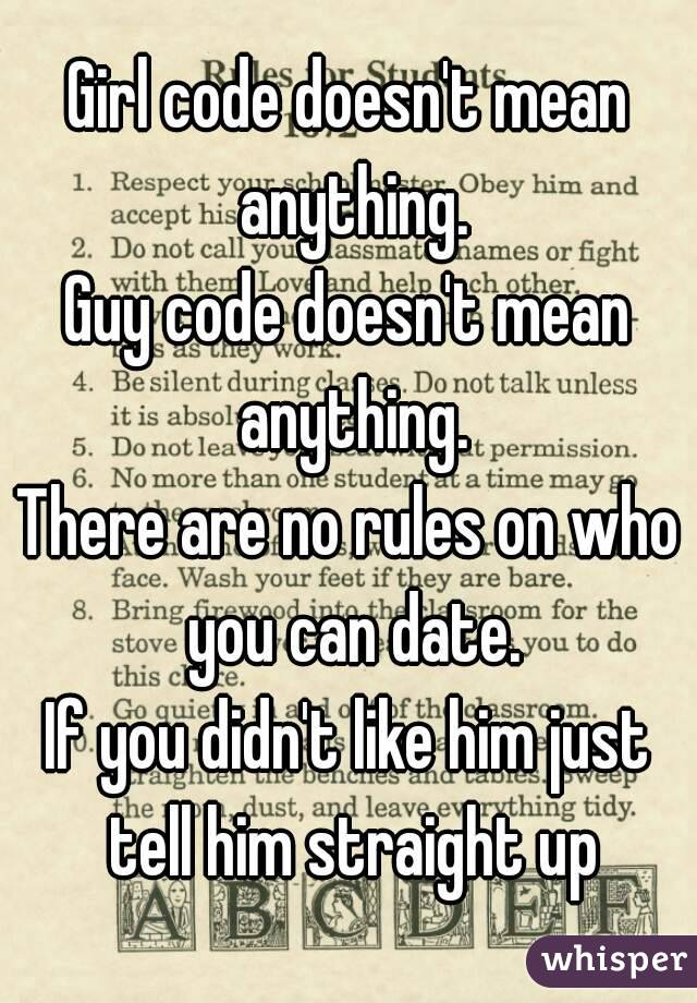 Guy code rules dating call