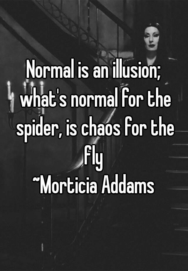 Normal is an illusion whats normal for the spider is chaos for normal is an illusion whats normal for the spider is chaos for the fly morticia addams altavistaventures Choice Image
