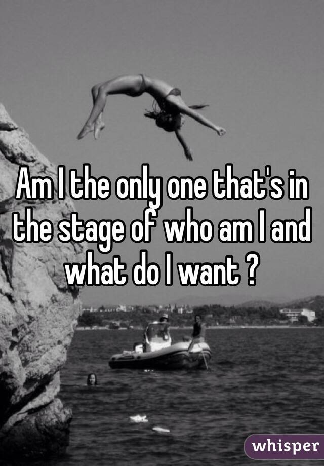 Am I the only one that's in the stage of who am I and what do I want ?