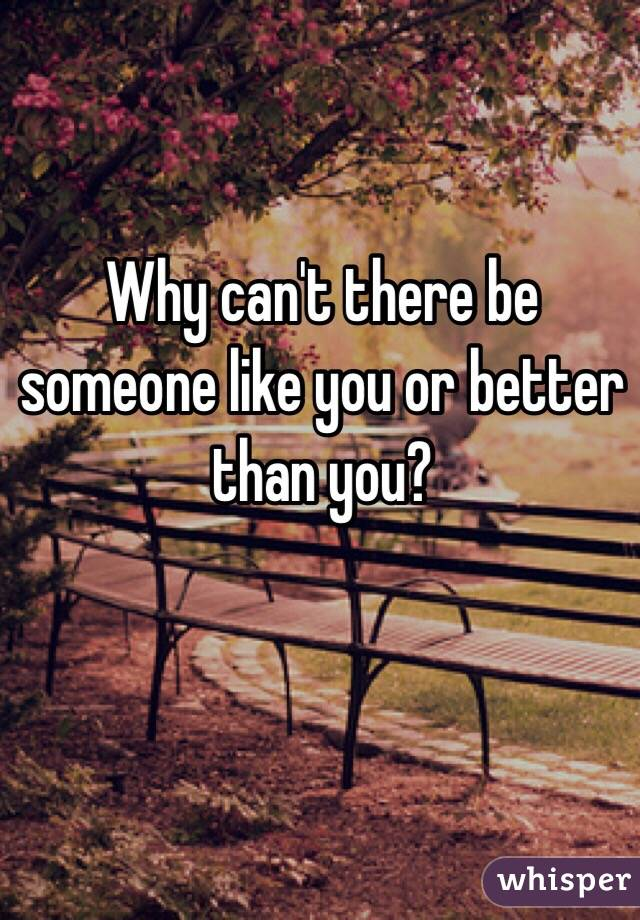 Why can't there be someone like you or better than you?