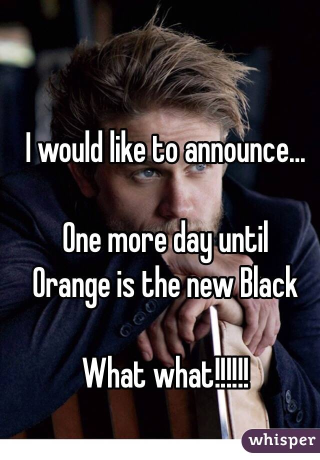 I would like to announce...  One more day until Orange is the new Black  What what!!!!!!