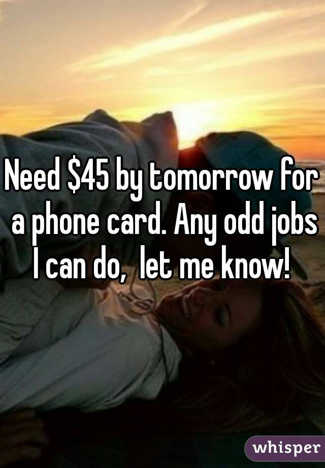 Need $45 by tomorrow for a phone card. Any odd jobs I can do,  let me know!