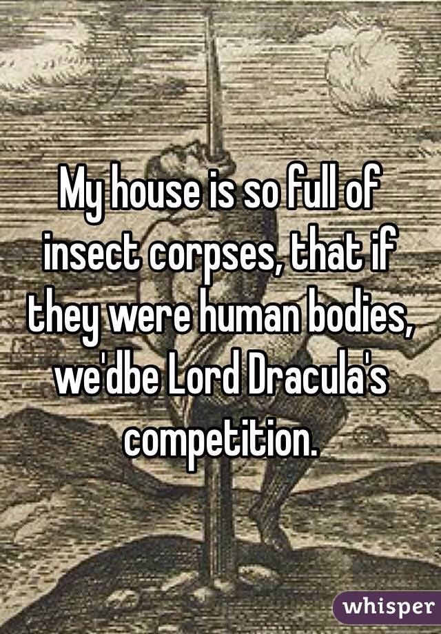 My house is so full of insect corpses, that if they were human bodies, we'dbe Lord Dracula's competition.