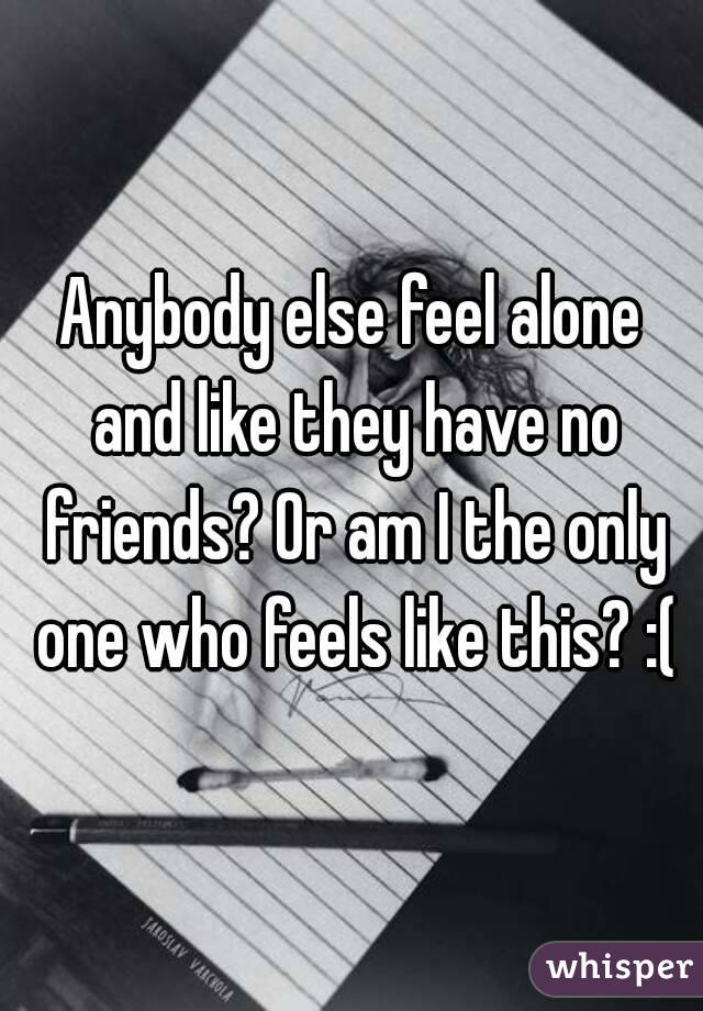 Anybody else feel alone and like they have no friends? Or am I the only one who feels like this? :(