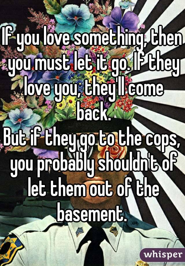 If you love something, then you must let it go. If they love you, they'll come back. But if they go to the cops, you probably shouldn't of let them out of the basement.