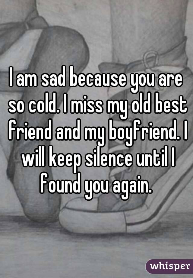 I am sad because you are so cold. I miss my old best friend and my boyfriend. I will keep silence until I found you again.