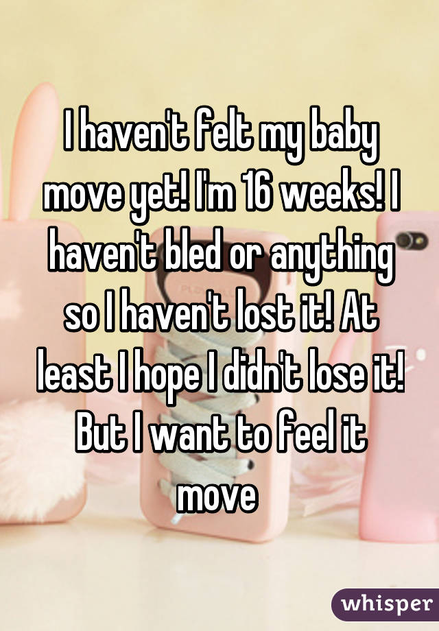 I haven't felt my baby move yet! I'm 16 weeks! I haven't bled or anything so I haven't lost it! At least I hope I didn't lose it! But I want to feel it move