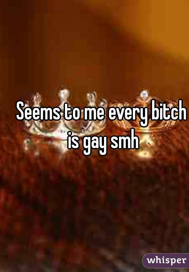 Seems to me every bitch is gay smh