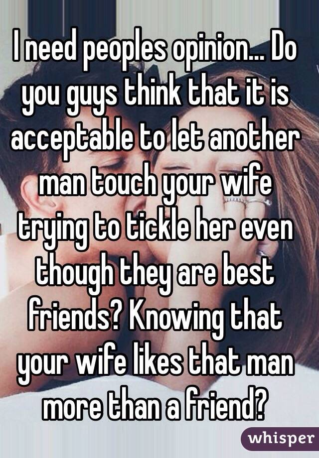 wife touches another man
