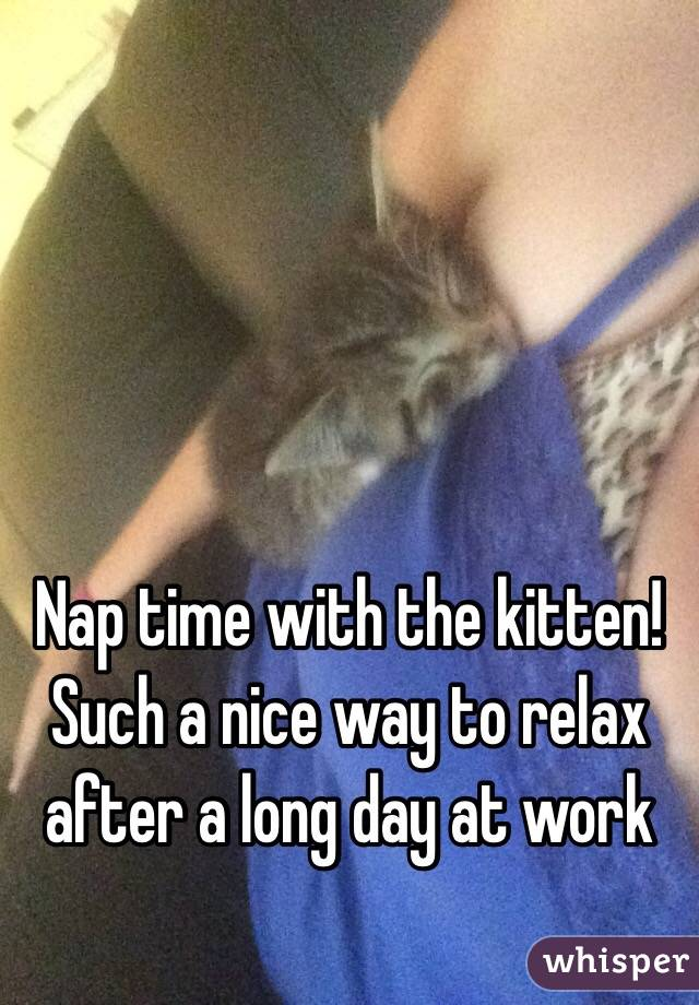 Nap time with the kitten! Such a nice way to relax after a long day at work