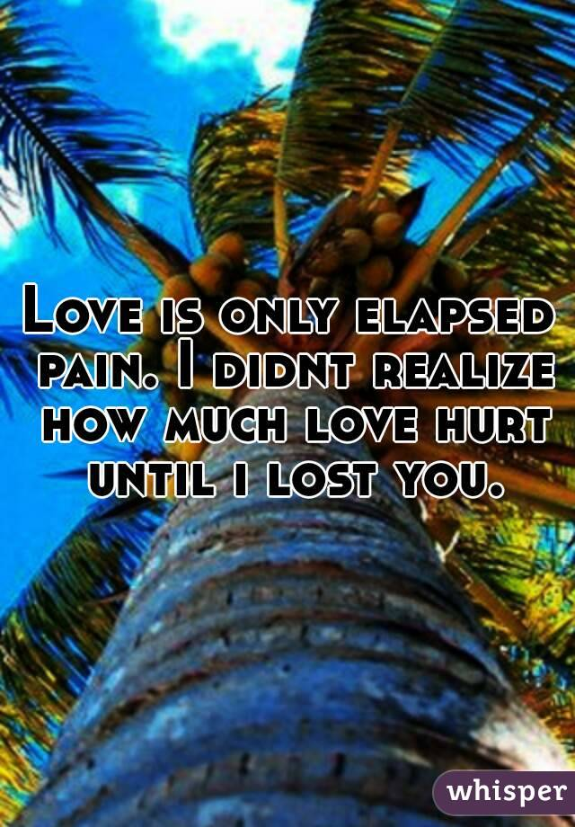 Love is only elapsed pain. I didnt realize how much love hurt until i lost you.