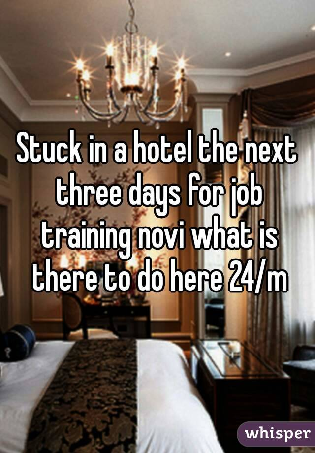 Stuck in a hotel the next three days for job training novi what is there to do here 24/m