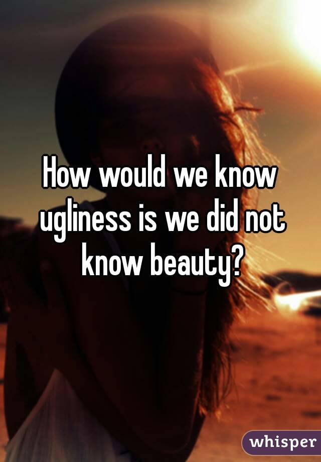 How would we know ugliness is we did not know beauty?