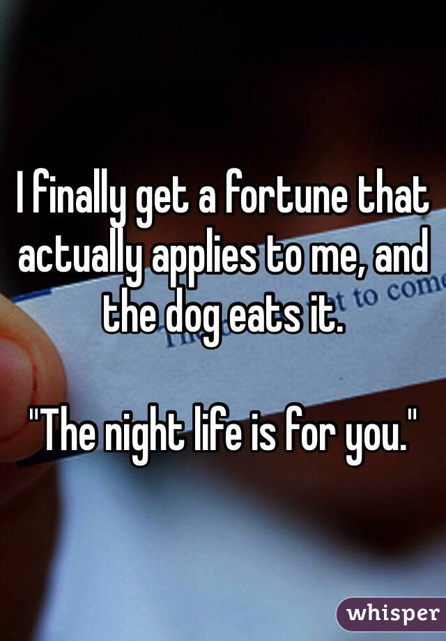 "I finally get a fortune that actually applies to me, and the dog eats it.  ""The night life is for you."""