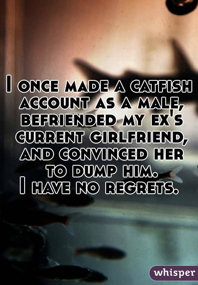 I once made a catfish account as a male, befriended my ex's current girlfriend, and convinced her to dump him.  I have no regrets.