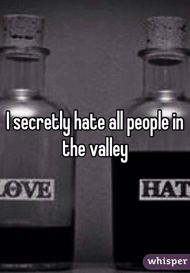 I secretly hate all people in the valley