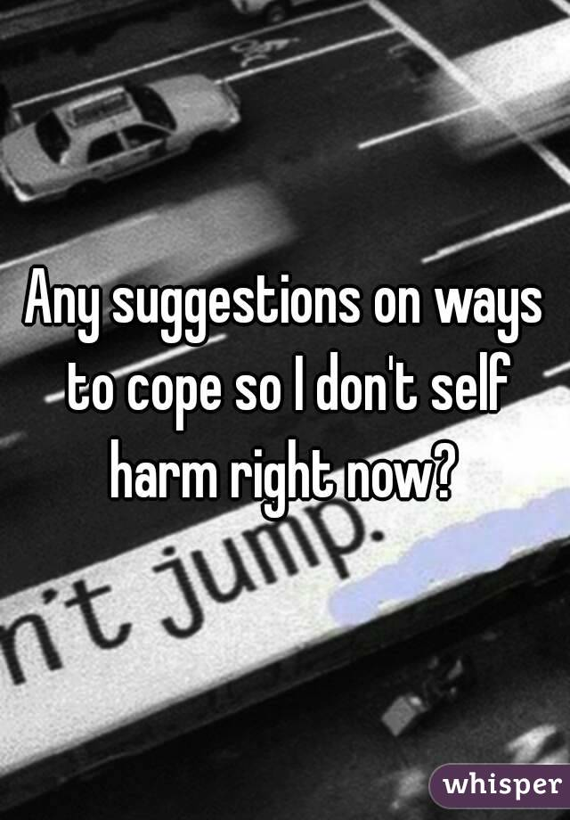 Any suggestions on ways to cope so I don't self harm right now?