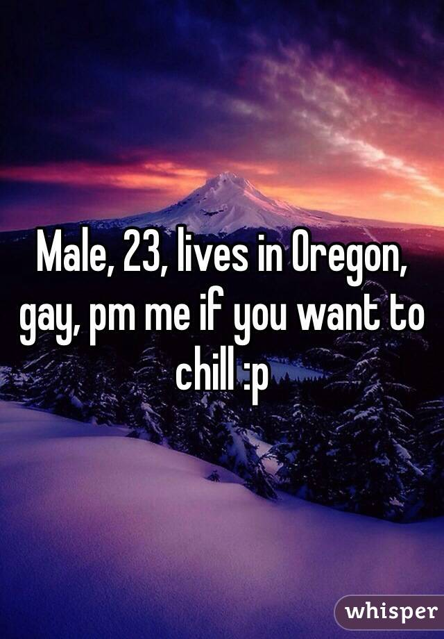 Male, 23, lives in Oregon, gay, pm me if you want to chill :p