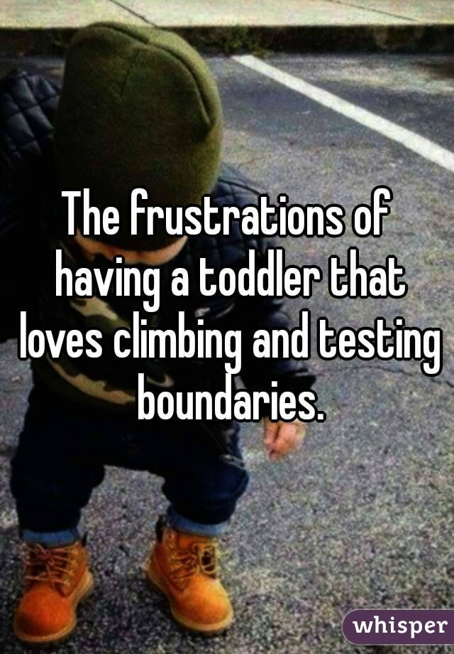 The frustrations of having a toddler that loves climbing and testing boundaries.