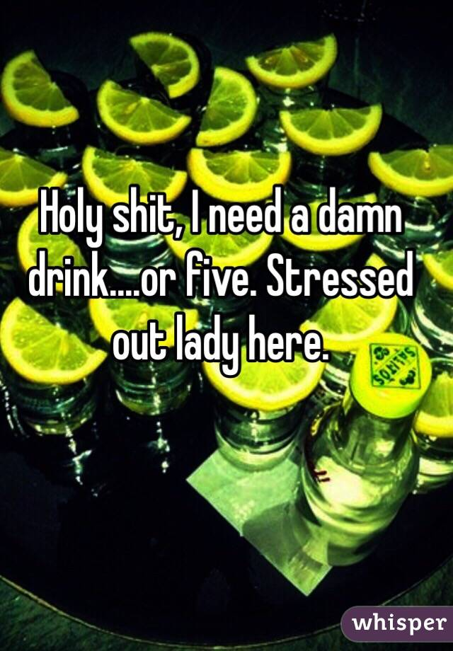 Holy shit, I need a damn drink....or five. Stressed out lady here.