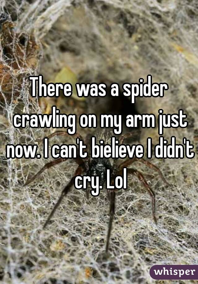 There was a spider crawling on my arm just now. I can't bielieve I didn't cry. Lol