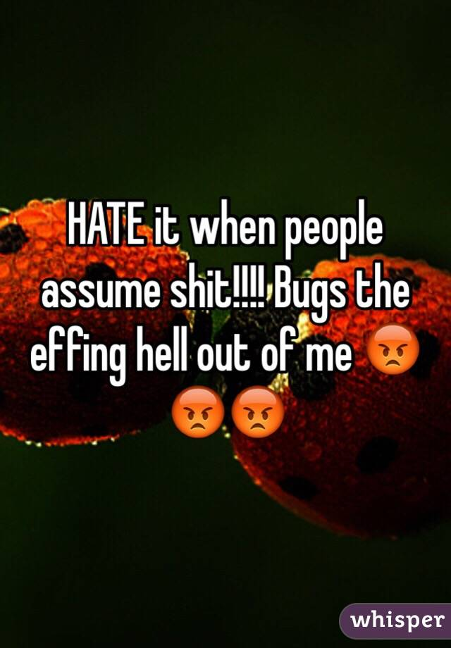 HATE it when people assume shit!!!! Bugs the effing hell out of me 😡😡😡