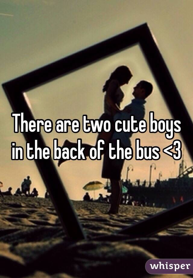 There are two cute boys in the back of the bus <3