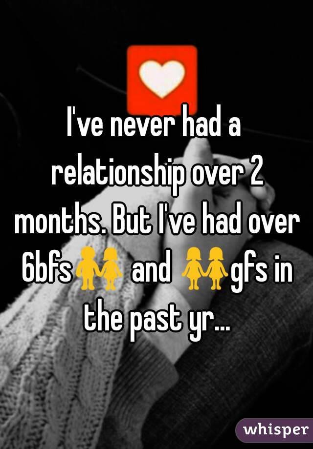 I've never had a relationship over 2 months. But I've had over 6bfs👫 and 👭gfs in the past yr...