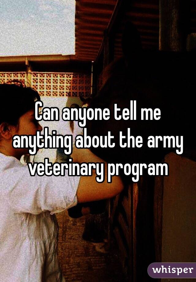 Can anyone tell me anything about the army veterinary program