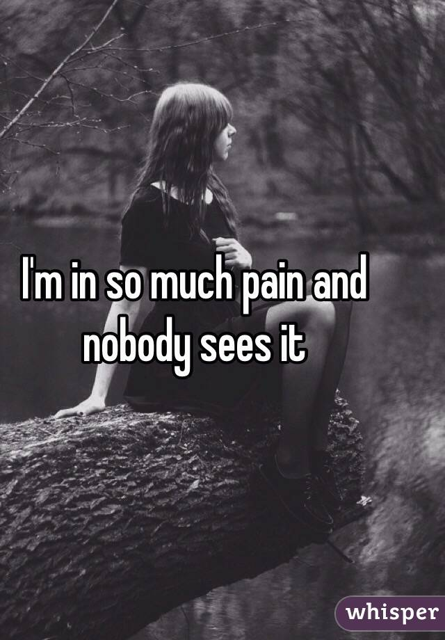 I'm in so much pain and nobody sees it