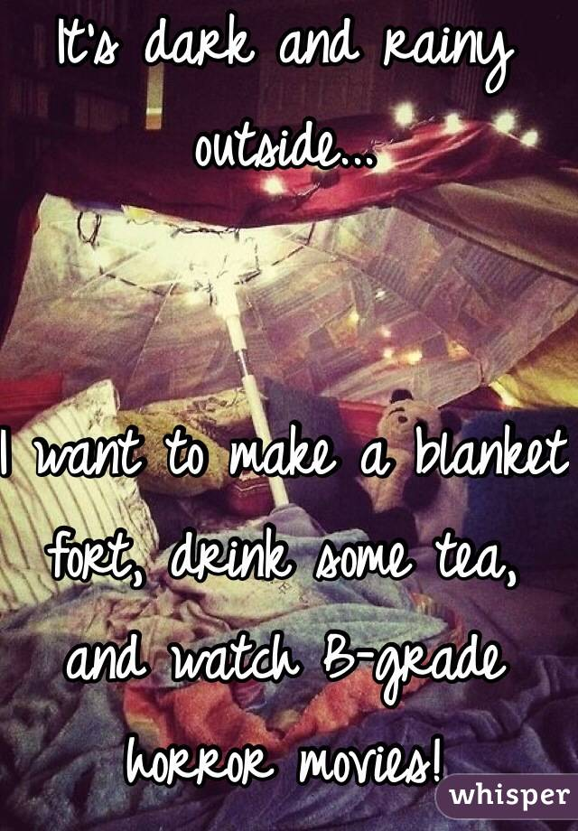 Itu0027s Dark And Rainy Outside... I Want To Make A Blanket Fort, Drink Some  Tea, ...