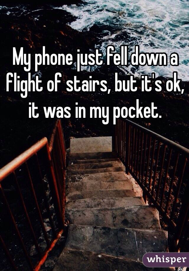 My phone just fell down a flight of stairs, but it's ok, it was in my pocket.
